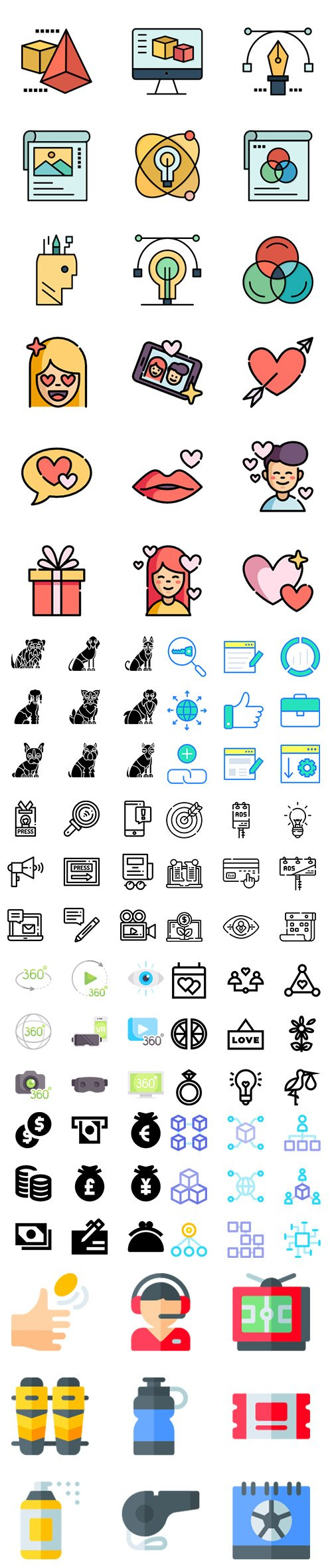 Lineal, Solid, Outline, Lineal Color and Flat more 500 Vector Icons in 1 Bundle