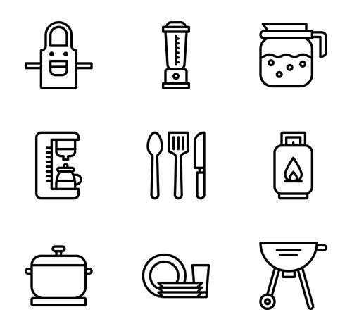 60 Kitchen Vector Icons (Lineal, Lineal Color, Flat)