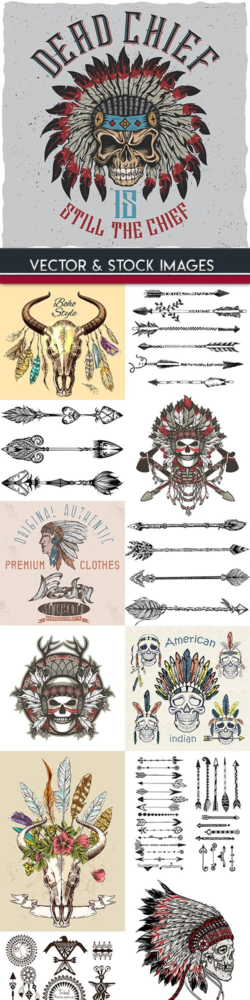 Indian skull and arrows hand drawn illustration