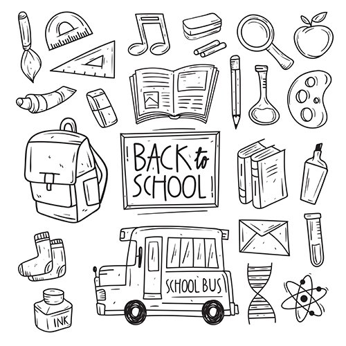 Back to School Doodle Vector Icon Pack