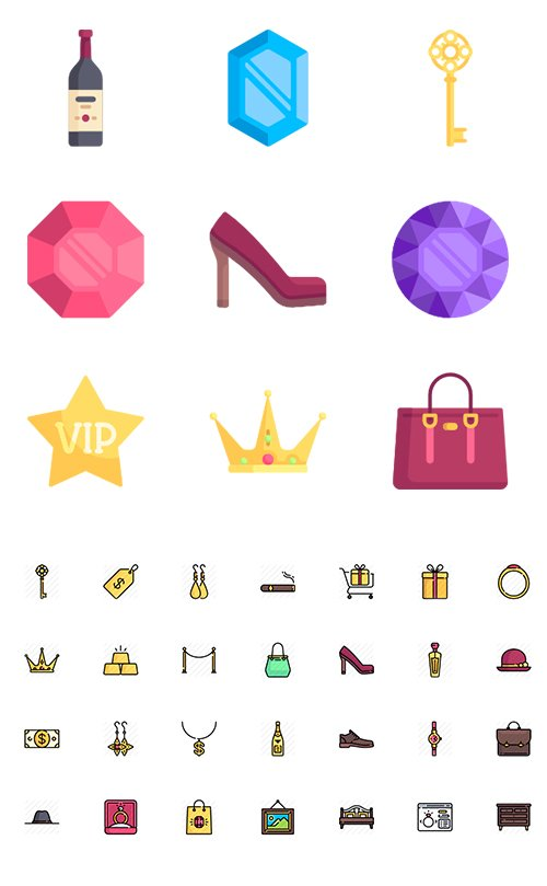 150 Luxury Shop Vector Icons (Lineal, Lineal Color, Flat)
