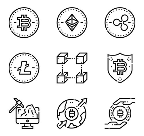 100  Cryptocurrency vector Icons (Lineal Color, Lineal)