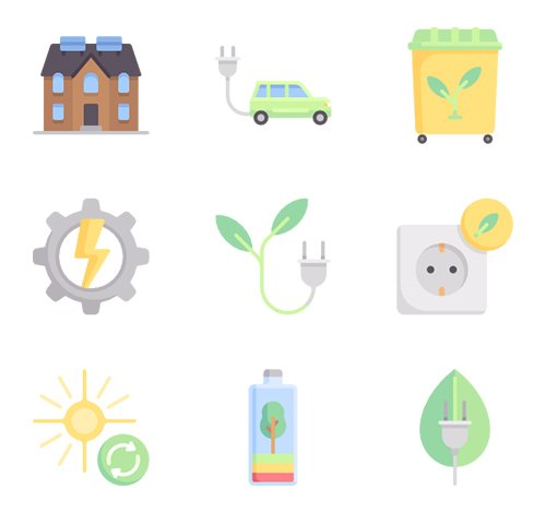150 Sustainable Energy Vector Icons (Lineal, Lineal Color, Flat)