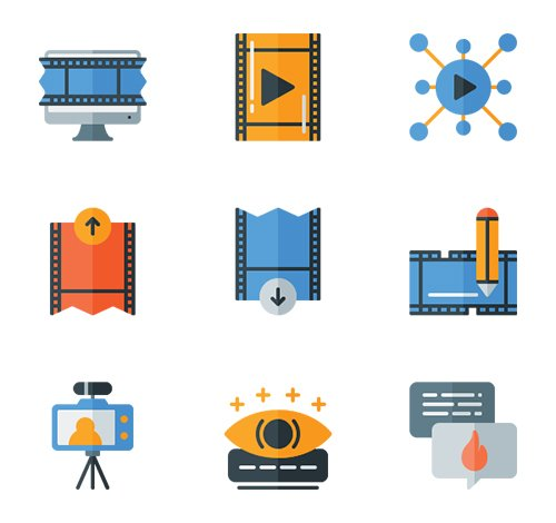 20 Online Streaming Vector Icons (Lineal, Lineal Color, Flat)