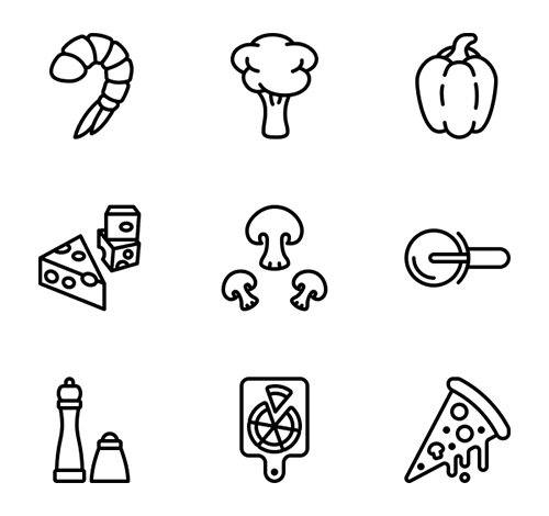 20 Pizza Vector Icons (Lineal, Lineal Color, Flat)