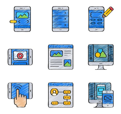 30 User Interface Design Vector Icons in 5 styles (Flat, Outline, Solid, Sketchy, Soft-Fill)