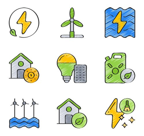 30 Clean Energy Vector Icons in 5 styles (Flat, Outline, Solid, Sketchy, Soft-Fill)