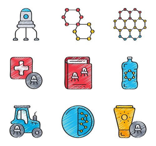 20 Nanotechnology Vector Icons in 5 styles (Flat, Outline, Solid, Sketchy, Soft-Fill)