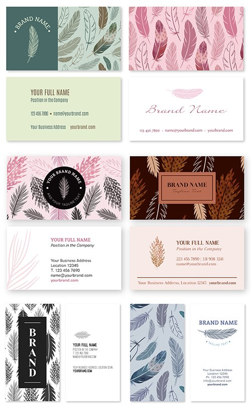 Business Card Vector Template with Feathers Nature Theme Set