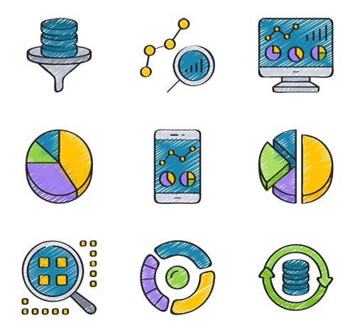 50 Data Analytics Vector Icons in 5 styles (Flat, Outline, Solid, Sketchy, Soft-Fill)