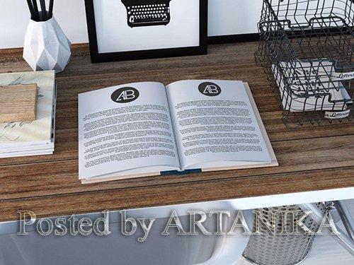 Realistic Open Book Mockup