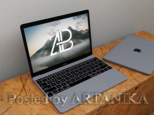 Realistic Space Grey Macbook Mockup