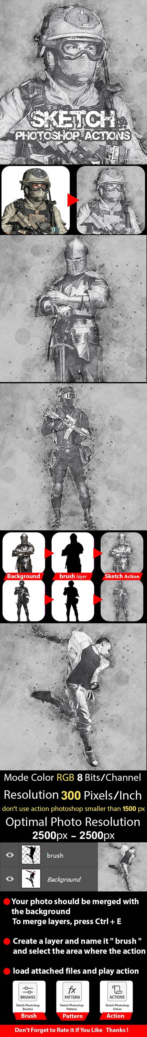 GraphicRiver - Sketch Photoshop Action 24222735