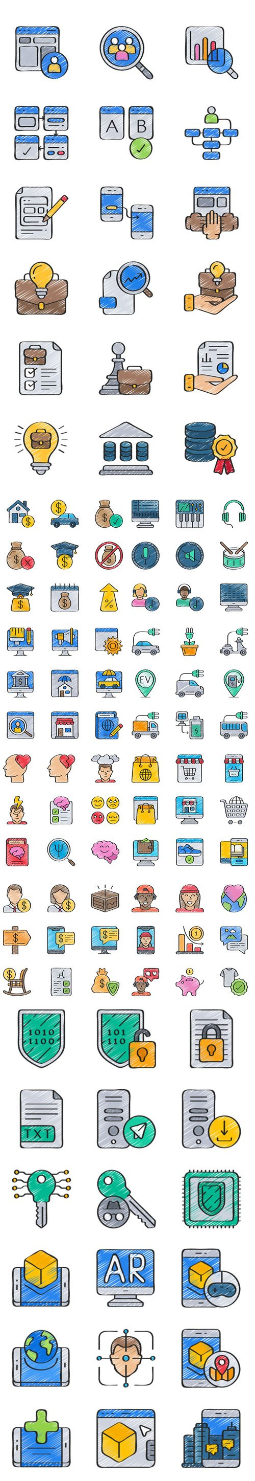 Big Icons Pack in 5 styles (Flat, Outline, Solid, Sketchy, Soft-Fill)