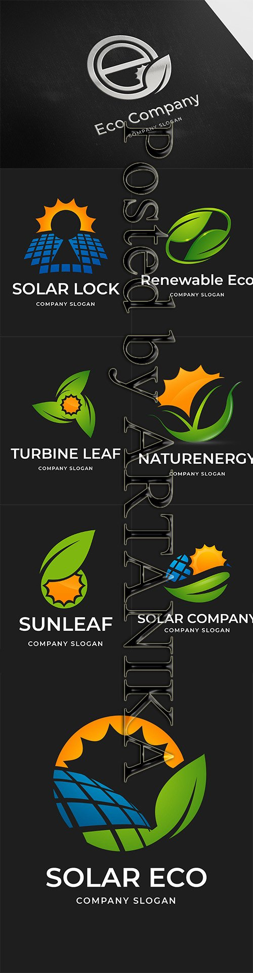 Solar and Eco Company Logo Set