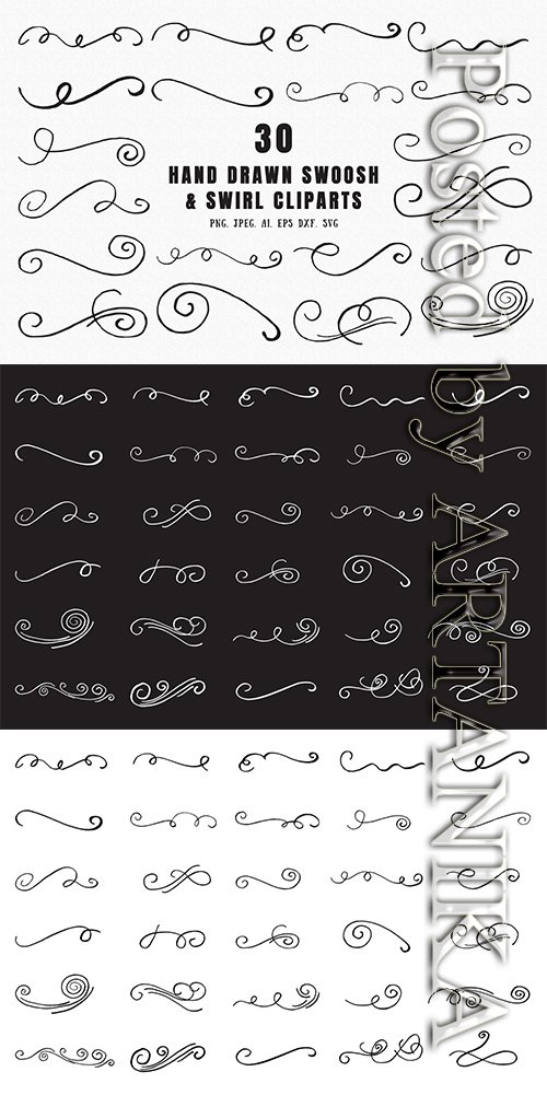 30 Hand Drawn Swoosh & Swirl Cliparts