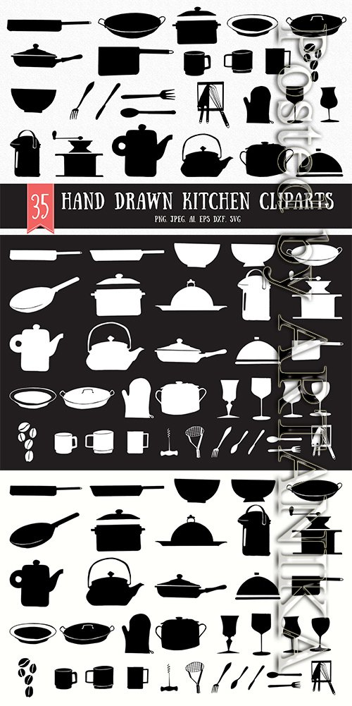 30+ Hand Drawn Kitchen Cliparts