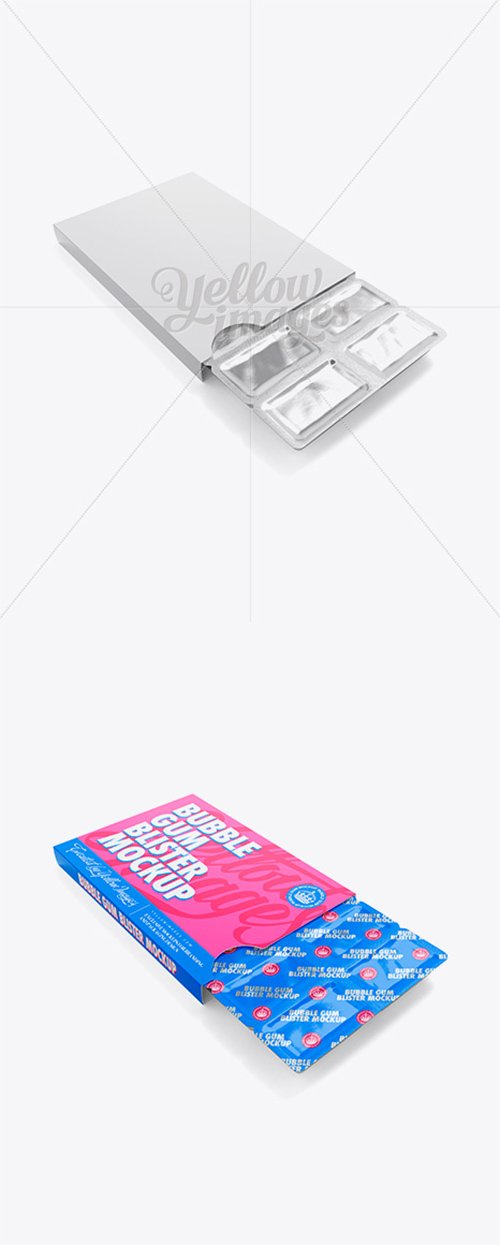 Chewing Gum in Blister Package Mockup - Bottom (Half-side View) 13041 TIF