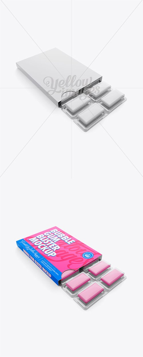 Chewing Gum in Blister Package Mockup - Top (Half-side View) 13040 TIF