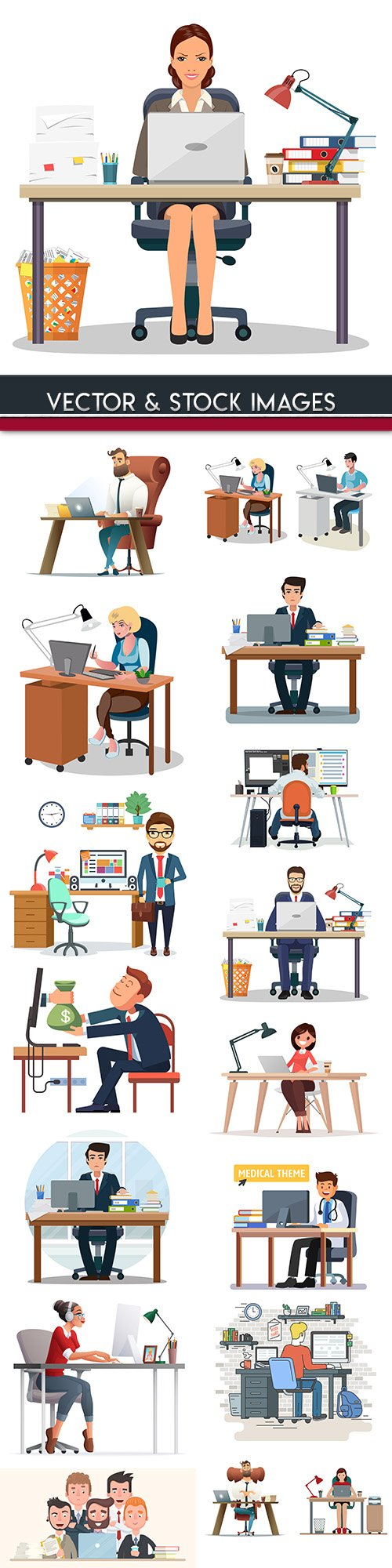 Business office people behind their workplace illustration