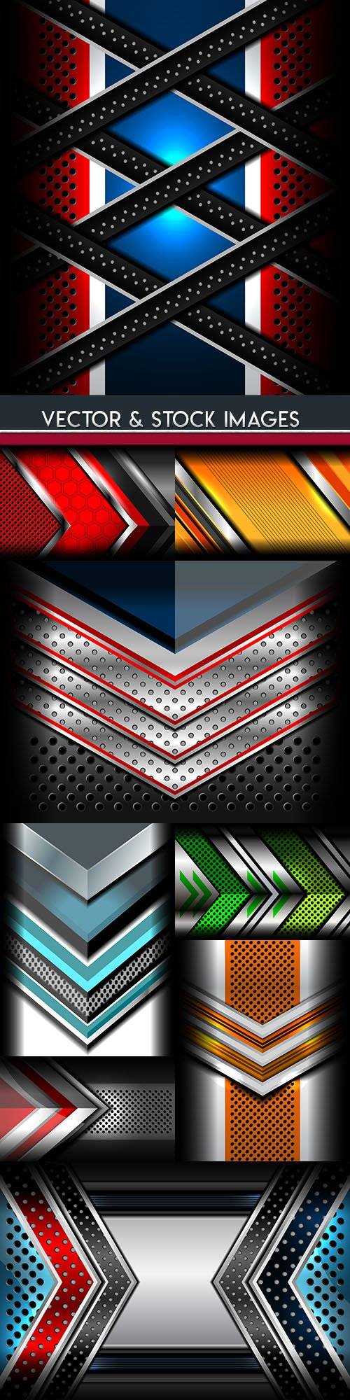 Glossy metallic geometric abstract backgrounds