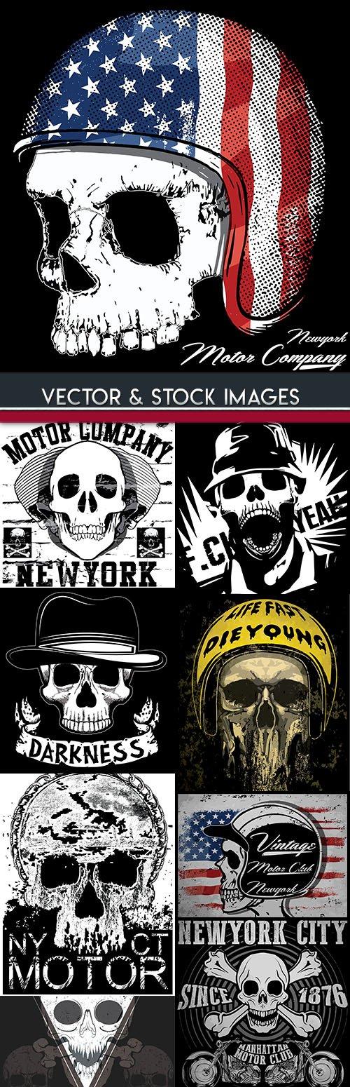 Motorbike skull black emblem vintage design