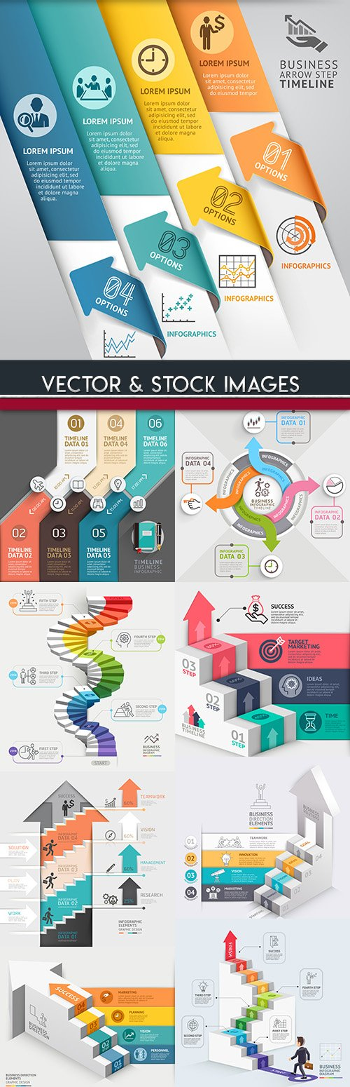 Business infographics options elements collection 83