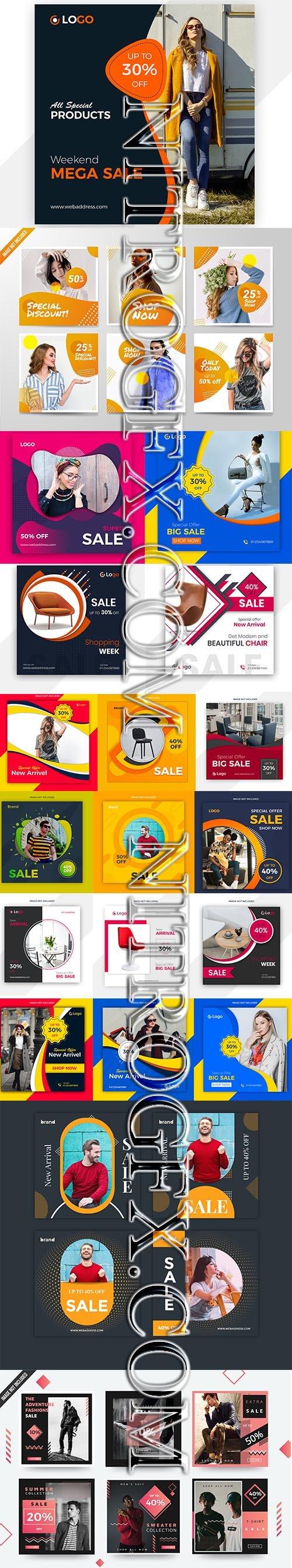 Mega Sale Social Media Post Template Set