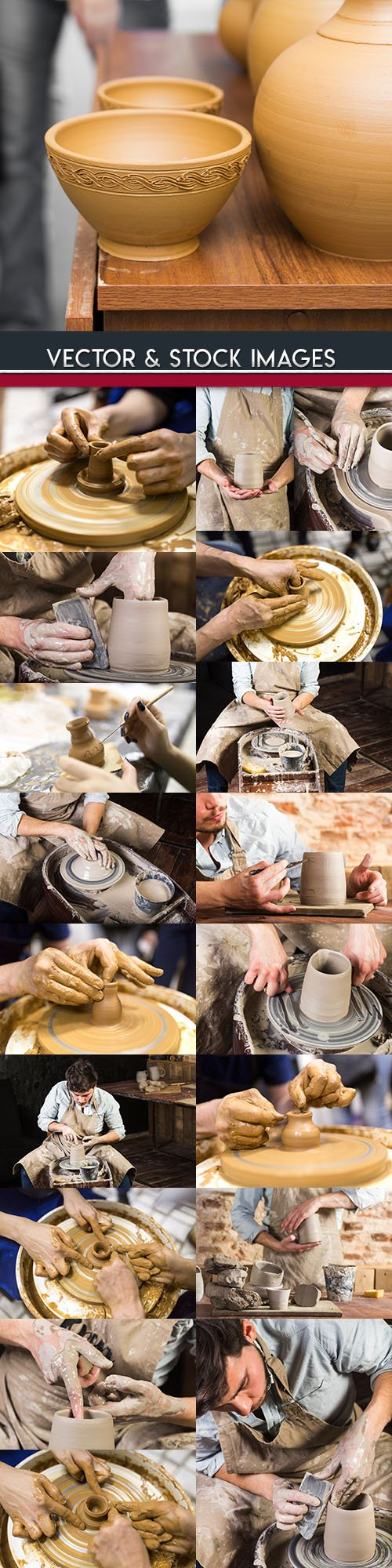 Pottery craft making ceramic pots and vases