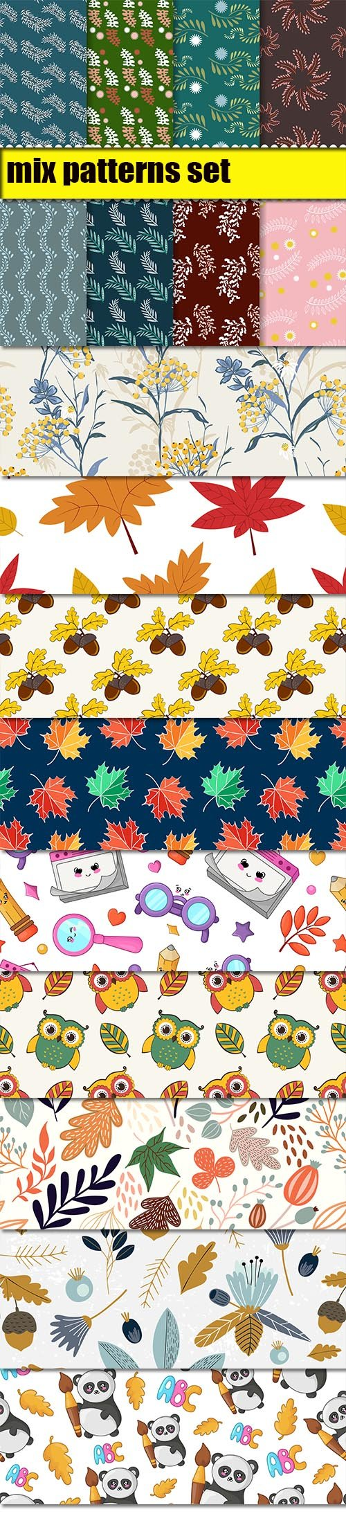 Autumn Leaves and Back to School Seamless Pattern Vector Set