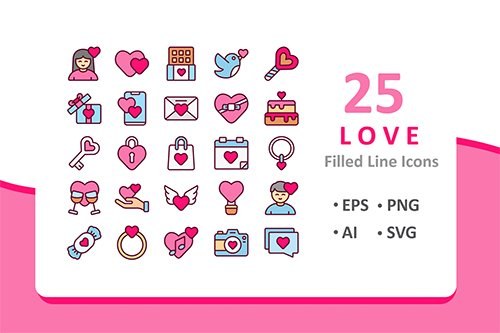 25 Love Icons - Filled Line