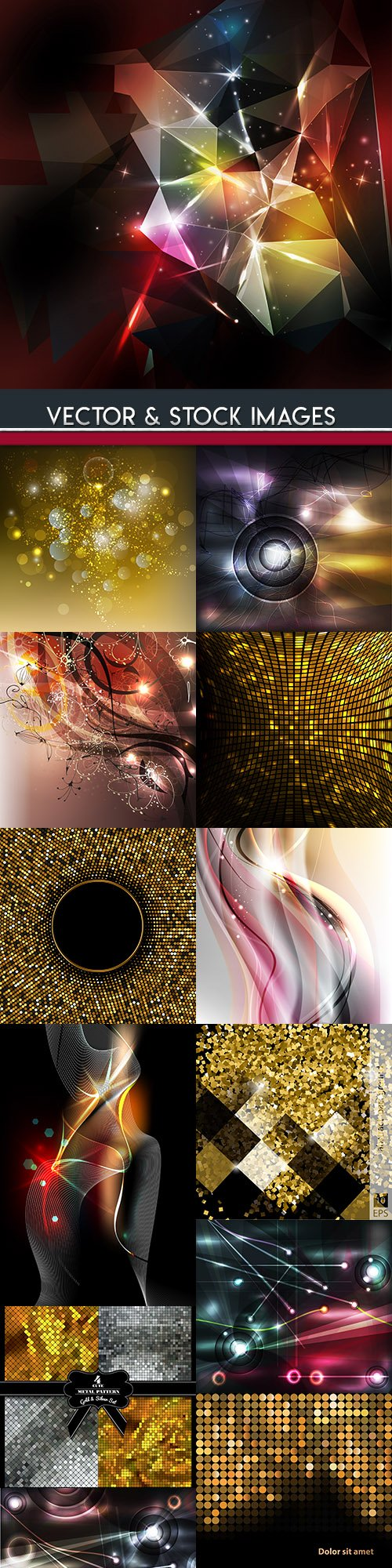 Bright light and gold abstract background collection