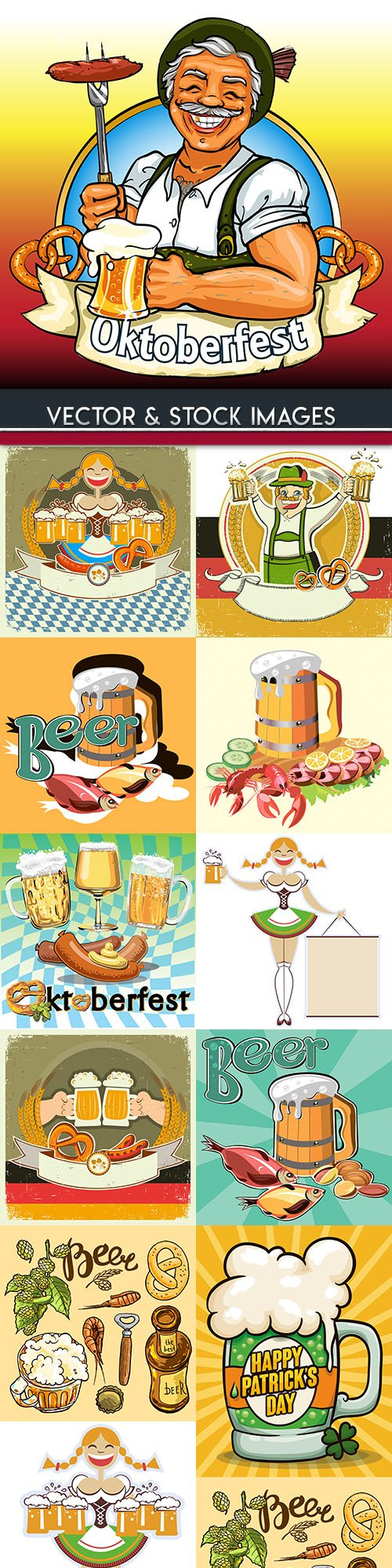 Oktoberfest beer vintage illustration collection