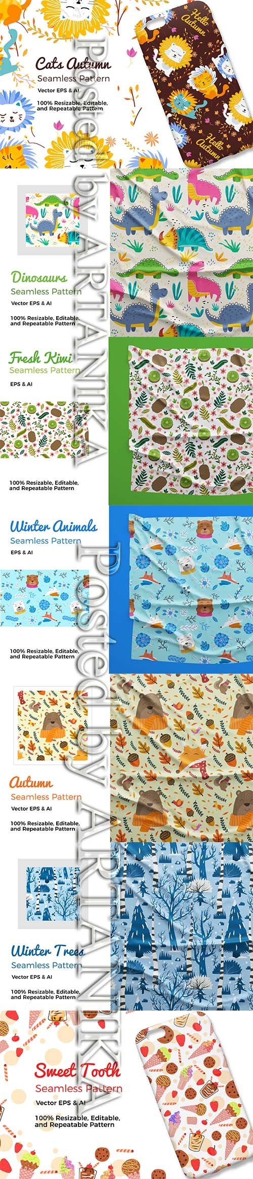 Autumn and Animals Pattern Set