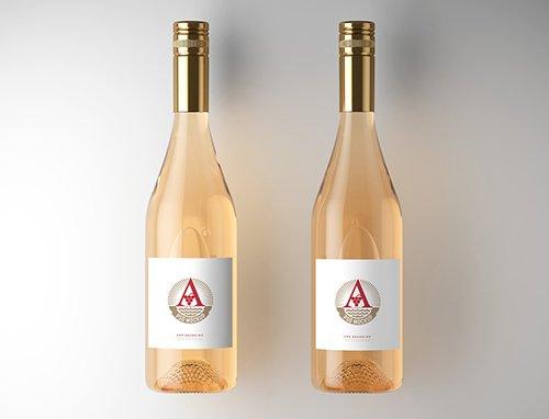 2 Wine Bottle Labels Mockup 225413996