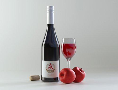 Wine Bottle Mockup near Apples 224741027