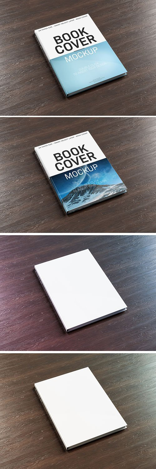 PSDT Book Cover on Wooden Surface Mockup 236528325