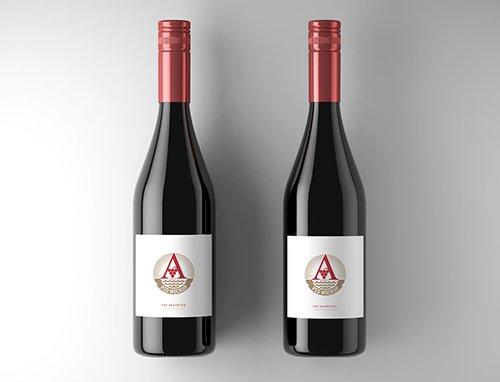 2 Wine Bottle Labels Mockup 225414029
