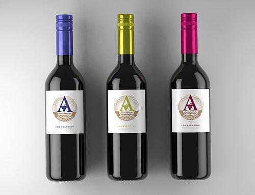 3 Wine Bottle Labels Mockup 225912626