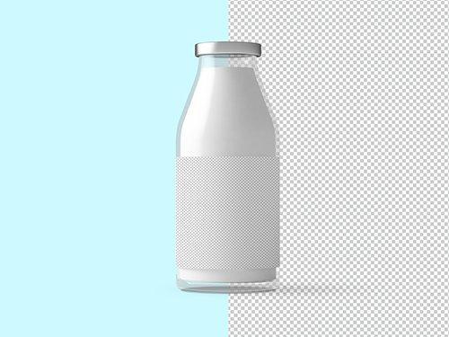 PSDT Glass Milk Bottle Mockup 236523345