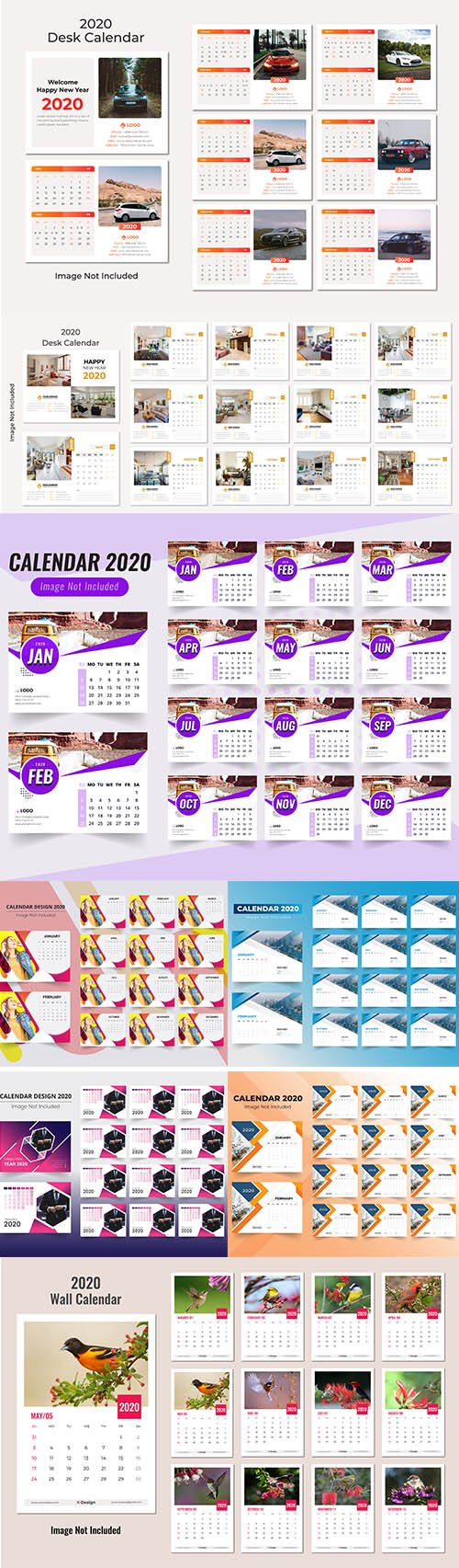 Desk and Wall Calendar 2020 Vector Pack vol.1