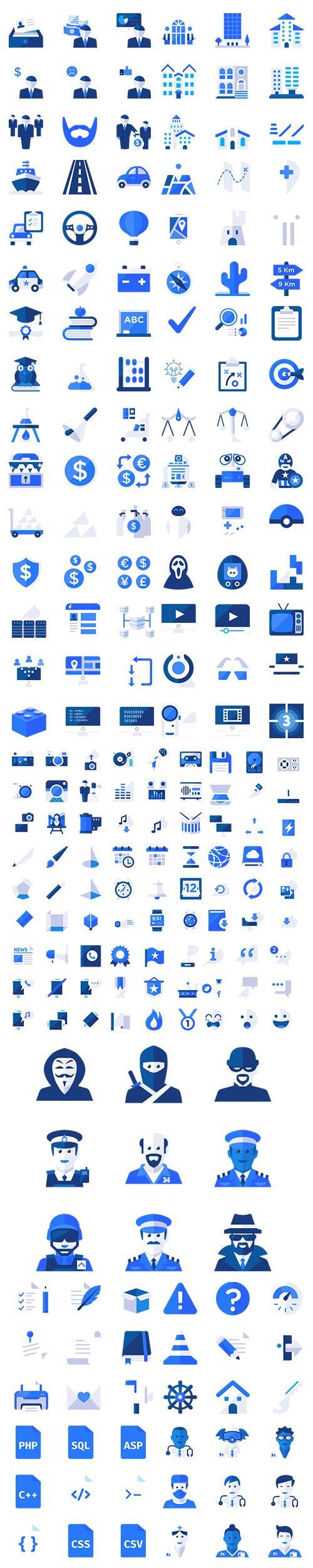 500+ Blu Vector Icons Set