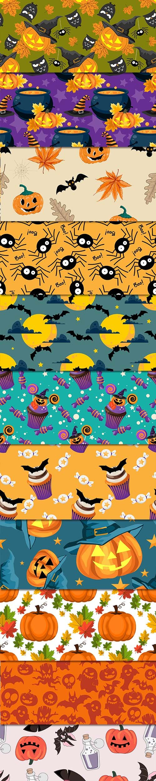 Halloween Seamless Pattern Vector Set