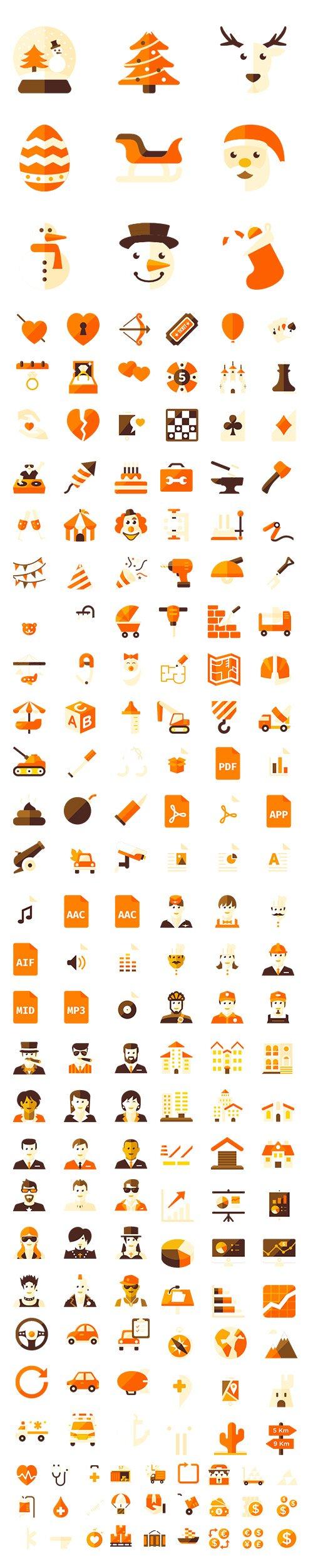450+ Big Orange Vector Icons Pack