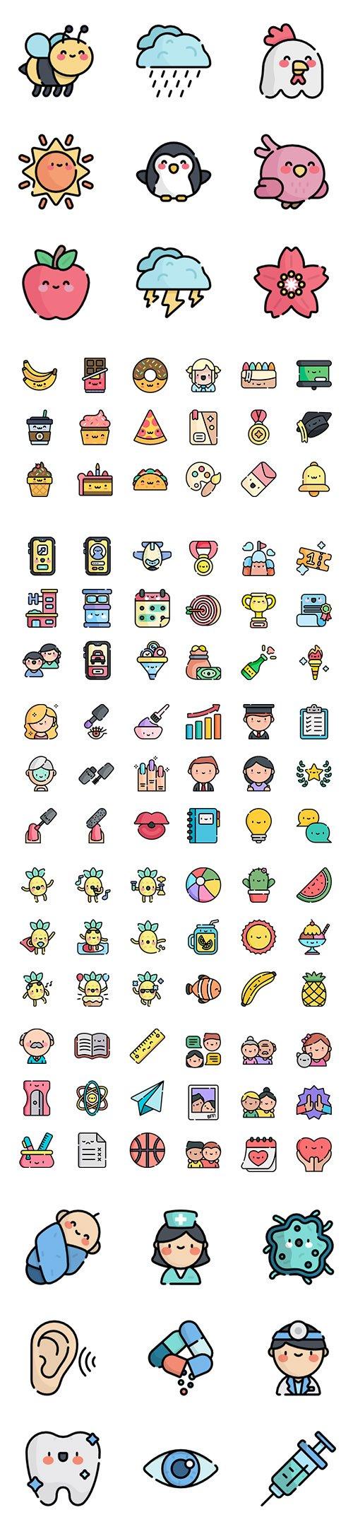 450+ Kawaii Lineal color Vector Icons Set vol2