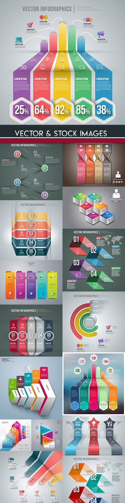 Business infographics options elements collection 85