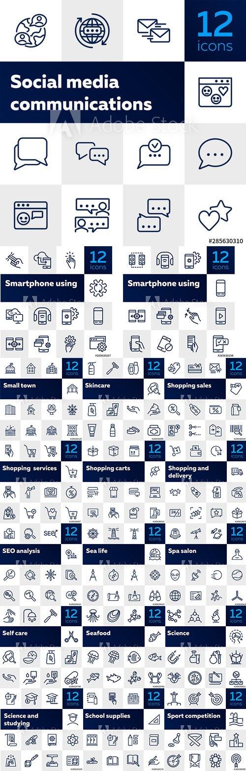 216 Line Icons AI Set
