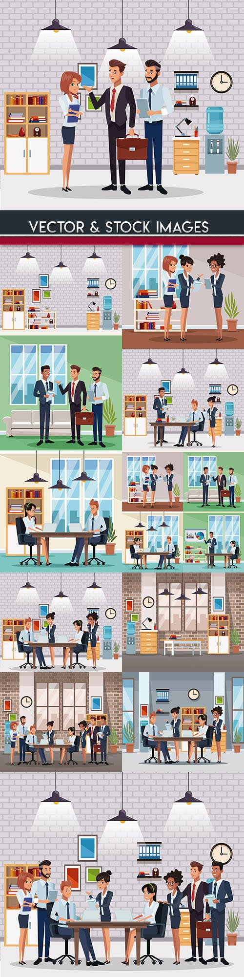 Office interior and furniture team business people
