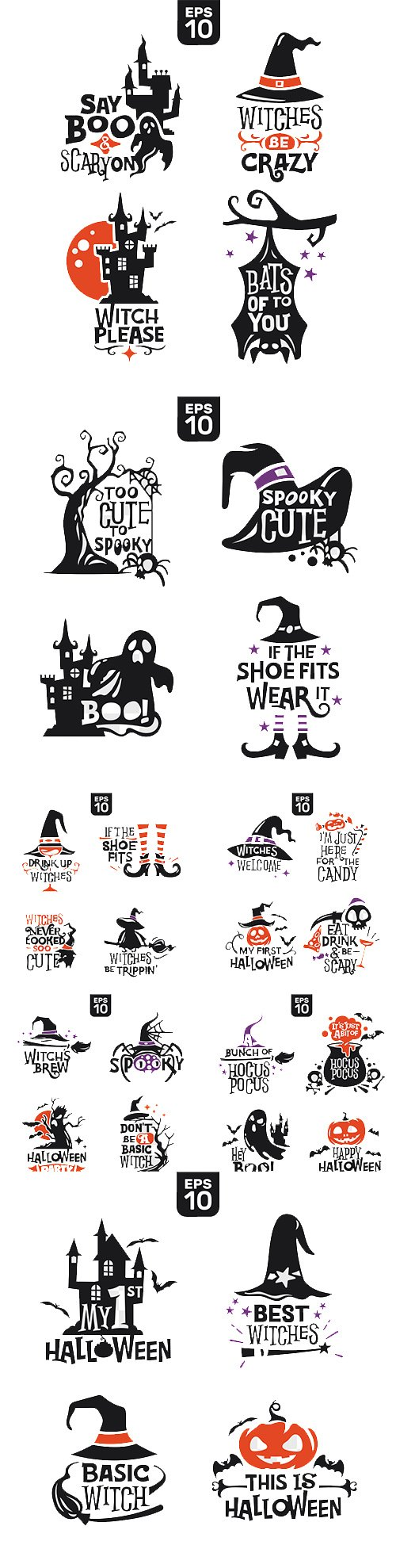 Vector Set of Halloween Silhouettes
