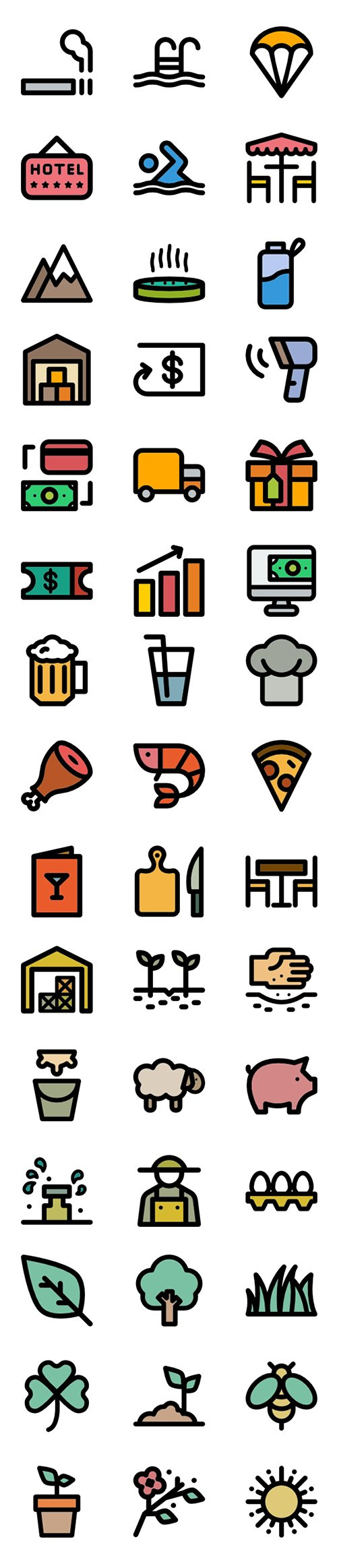 350+ Curved Lineal Color Vector Icons Set
